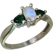 14k Faceted Moonstone & Emerald Ring, FREE SIZING