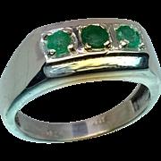 14k Emerald Men's Ring, FREE SIZING