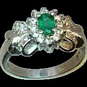 14k Emerald & Diamonds Ring, Free Sizing
