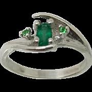 14k Emerald & Tsavorite Garnet Ring, Free Sizing.