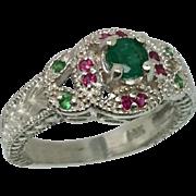 14k Emerald, Ruby & Tsavorite Ring, Free Sizing.