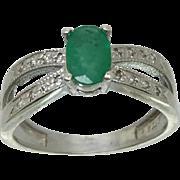 14k Emerald & Diamonds Ring, Free Sizing.