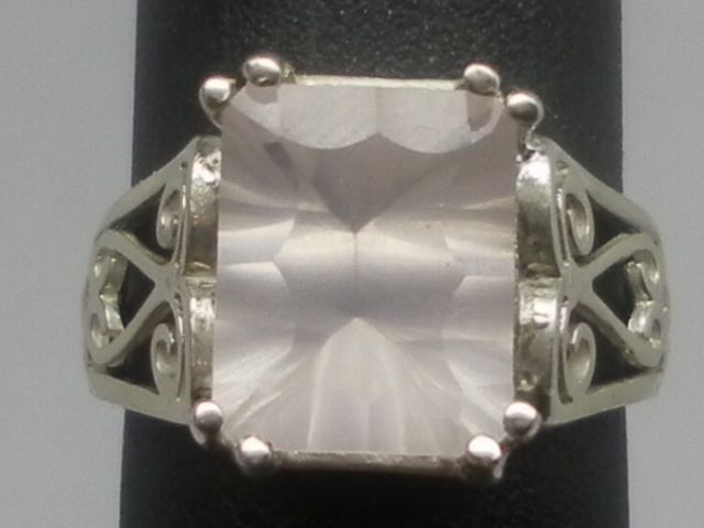 Rose Quartz Silver Ring, FREE SIZING.
