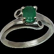 14k Colombian Emerald & Black Onyx Ring, Free Sizing