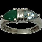 14k Aquamarine & Emerald Ring, Free Sizing