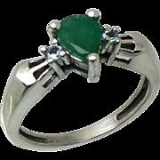 14k Emerald & Aquamarine Ring, Free Sizing.