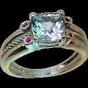 14k Aquamarine & Ruby Ring, Free Sizing