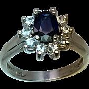 14k Blue Sapphire & Aquamarine Ring, Free Sizing