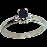 14k Blue Sapphire & Aquamarine Ring, Free Sizing.