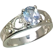 14k Aquamarine Ring, W-Y-R, Free Sizing.