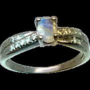 14k Moonstone & Diamonds Ring, Free Sizing.