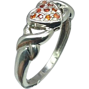 Natural Orange Sapphire Silver Ring, Free Sizing