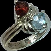 Natural Garnet & Aquamarine Silver Ring, Free Sizing.