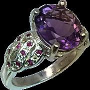 Amethyst & Ruby Silver Ring, Free Sizing