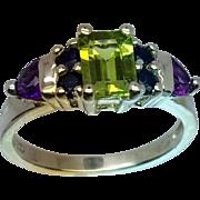 Peridot, Sapphire & Amethyst Silver Ring, Free Sizing
