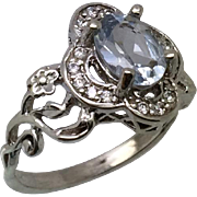 14k Aquamarine & Diamonds Ring W-Y-R, Free Sizing