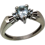14k Aquamarine Ring W-Y-R, Free Sizing