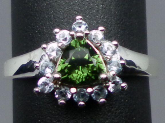 Vintage Natural Green Tourmaline & Blue Topaz Sterling Ring.