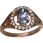 14k Tanzanite & Diamonds Ring W-Y-R, Free Sizing