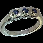 14k Blue Sapphire Band, W-Y-R, Free Sizing