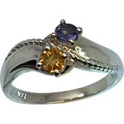 14k Tanzanite & Citrine Ring, W-Y-R, Free Sizing