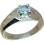 Natural Aquamarine Silver Men's Ring, Free Sizing