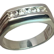White Sapphire Silver Men's Ring, Free Sizing