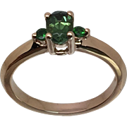 14k Green Tourmaline & Tsavorite Ring, Free Sizing