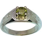 Natural Green Tourmaline Silver Men's Ring, Free Sizing