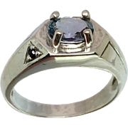 Tanzanite & Onyx Silver Men's Ring, Free Sizing