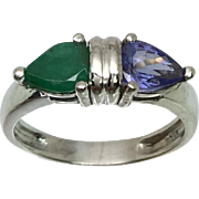 14k Tanzanite & Emerald Ring W-Y-R, Free Sizing