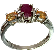 14k Ruby, Garnet & Diamonds Ring, W-Y-R, Free Sizing