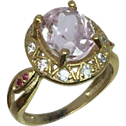 14k Kunzite, Aquamarine & Ruby Ring, W-Y-R, Free Sizing
