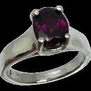 Rhodolite Garnet Silver Ring, Free Sizing
