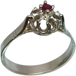 Unheated Ruby Silver Ring, Free Sizing