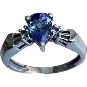 14k Tanzanite & Aquamarine Ring W-Y-R, Free Sizing