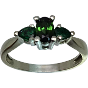 14k Tourmaline & Emerald Ring W-Y-R, Free Sizing