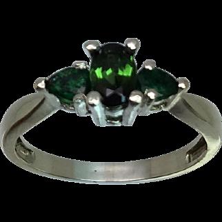 14k Tourmaline & Emerald Ring W-Y-R, Free Sizing