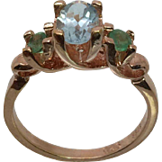14k Aquamarine & Emerald Ring, W-Y-R, Free Sizing