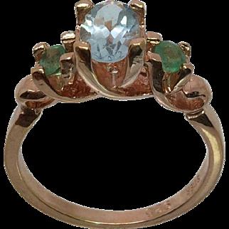 14k Aquamarine & Emerald Ring, W-Y-R, Free Sizing