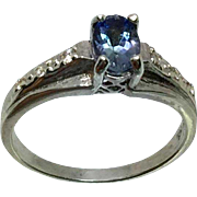 14k Tanzanite & Diamonds Ring, W-Y-R, Free Sizing