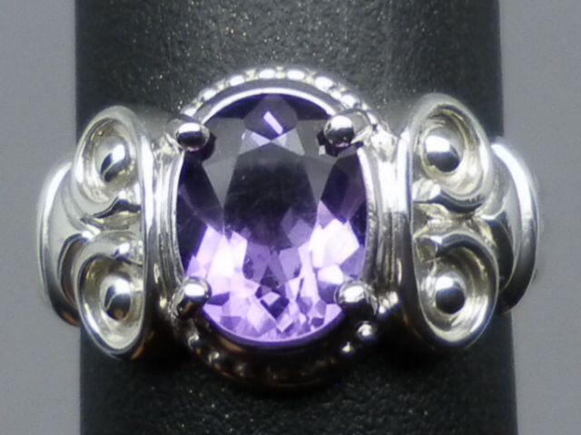 Vintage Natural Amethyst Sterling Ring, FREE SIZING.