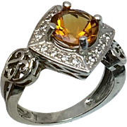 14k Citrine & Diamonds Ring W-Y-R, Free Sizing
