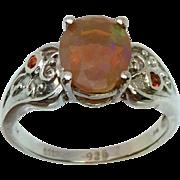 Ethiopian Opal & Garnet Silver Ring, Free Sizing
