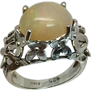 3 Carats Ethiopian Opal Silver Ring, Free Sizing