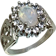Faceted Moonstone & Aquamarine 14k Ring, Free Sizing