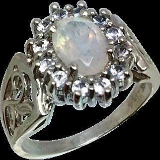 Faceted Moonstone & Aquamarine 14k Ring, Free Sizing