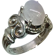 Rainbow Moonstone Silver Ring, Free Sizing