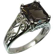Smoky Quartz Silver Ring, Free Sizing
