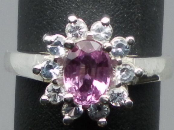 Vintage 14kt Pink Sapphire & Blue Topaz Ring; FREE SIZING.
